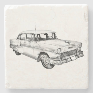 1955 Chevrolet Bel Air Antique Car Illustration Stone Coaster