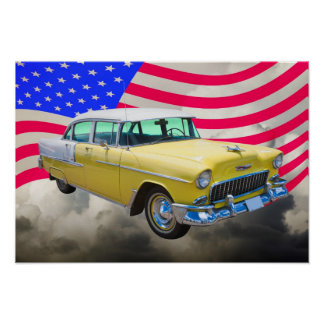 1955 Chevrolet Bel Air With American Flag Poster