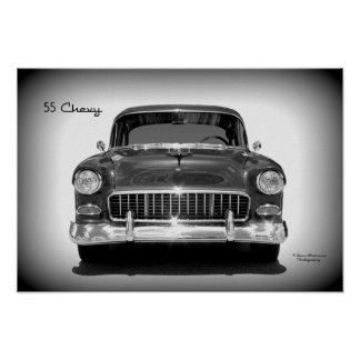 1955 Chevrolet Front View - Monochrome Poster