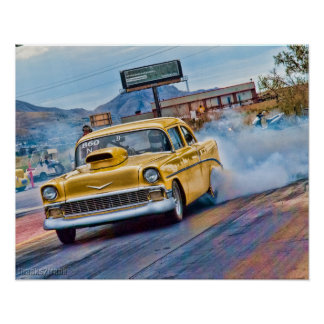 1955 chevy bel air drag race poster