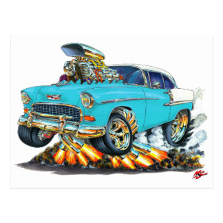 1955 Chevy Belair Turquoise Car Postcard