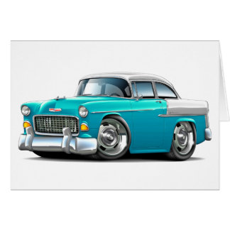 1955 Chevy Belair Turquoise-White Car Card