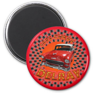 1955 Chevy Delray Magnet. 2 Inch Round Magnet