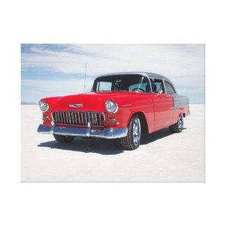 "1955 chevy hot rod, street rod, ""tri five"" belair canvas print"