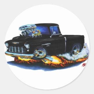 1955 Chevy Pickup Black Truck Classic Round Sticker