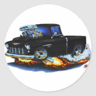 1955 Chevy Pickup Black Truck Round Sticker