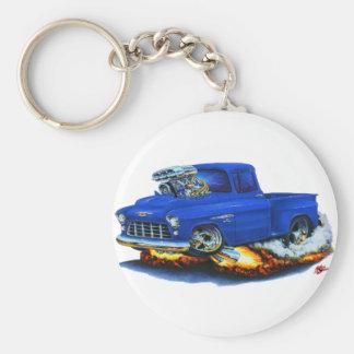 1955 Chevy Stepside Pickup Blue Truck Basic Round Button Keychain