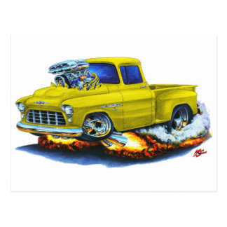 1955 Chevy Stepside Pickup Yellow Truck Postcard