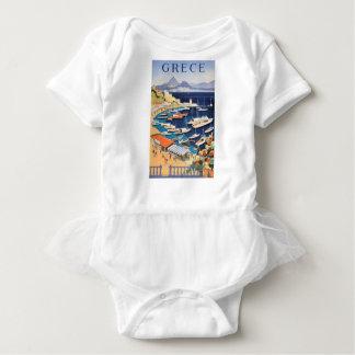1955 Greece Athens Bay of Castella Travel Poster Baby Bodysuit