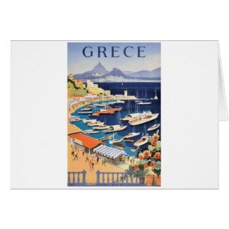 1955 Greece Athens Bay of Castella Travel Poster Card