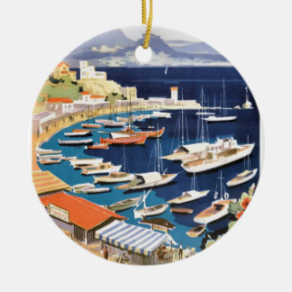 1955 Greece Athens Bay of Castella Travel Poster Ceramic Ornament