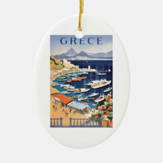 1955 Greece Athens Bay of Castella Travel Poster Ceramic Oval Ornament
