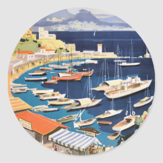 1955 Greece Athens Bay of Castella Travel Poster Classic Round Sticker