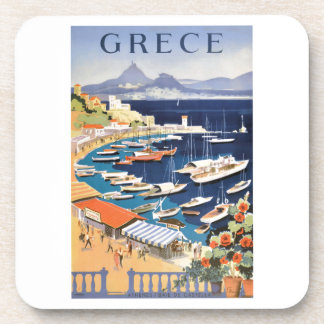 1955 Greece Athens Bay of Castella Travel Poster Coaster
