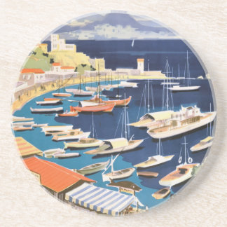 1955 Greece Athens Bay of Castella Travel Poster Coasters