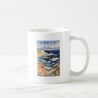 1955 Greece Athens Bay of Castella Travel Poster Coffee Mug