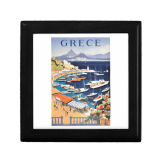 1955 Greece Athens Bay of Castella Travel Poster Jewelry Boxes