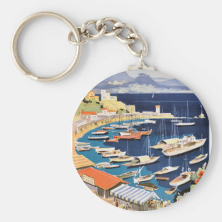 1955 Greece Athens Bay of Castella Travel Poster Keychain