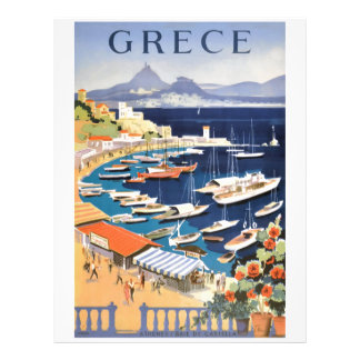 1955 Greece Athens Bay of Castella Travel Poster Letterhead
