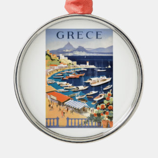 1955 Greece Athens Bay of Castella Travel Poster Metal Ornament