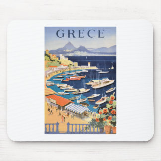 1955 Greece Athens Bay of Castella Travel Poster Mouse Pad