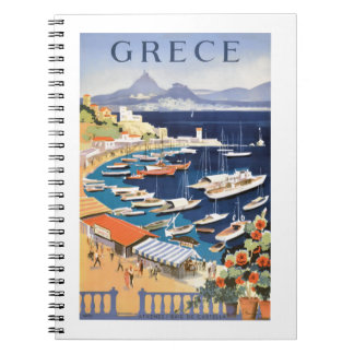 1955 Greece Athens Bay of Castella Travel Poster Notebook
