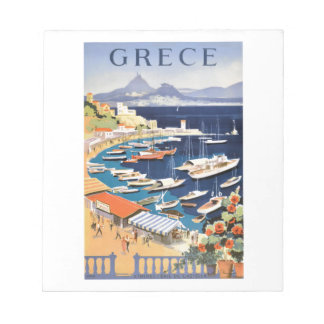 1955 Greece Athens Bay of Castella Travel Poster Notepad
