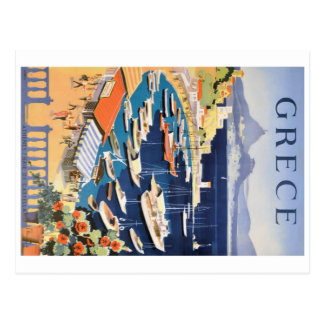 1955 Greece Athens Bay of Castella Travel Poster Postcard