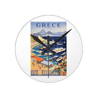1955 Greece Athens Bay of Castella Travel Poster Round Clock