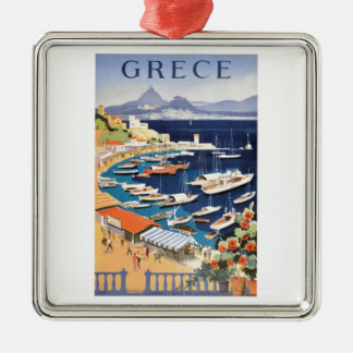 1955 Greece Athens Bay of Castella Travel Poster Silver-Colored Square Ornament