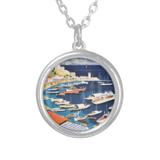 1955 Greece Athens Bay of Castella Travel Poster Silver Plated Necklace