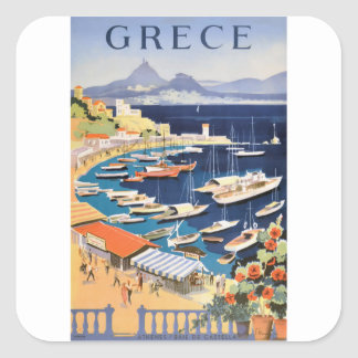 1955 Greece Athens Bay of Castella Travel Poster Square Sticker