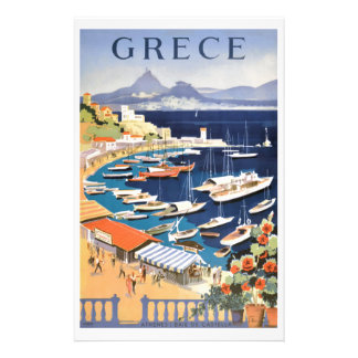 1955 Greece Athens Bay of Castella Travel Poster Stationery