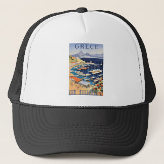 1955 Greece Athens Bay of Castella Travel Poster Trucker Hat