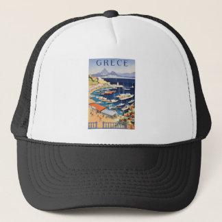1955 Greece Athens Bay of Castella Travel Poster Trucker Hat