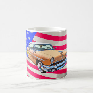 1955 Lincoln Capri With American Flag Coffee Mug
