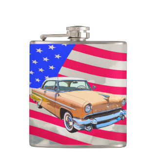1955 Lincoln Capri With American Flag Flasks