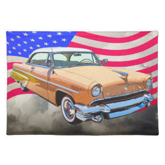1955 Lincoln Capri With American Flag Placemats