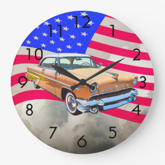1955 Lincoln Capri With American Flag Wall Clocks
