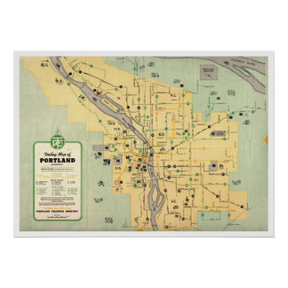 1955 Portland Oregon Trolley Streetcar Map Poster