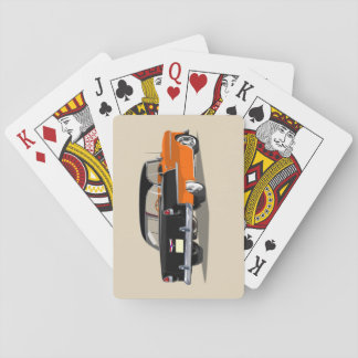 1955 Shoebox Playing Cards Black and Orange