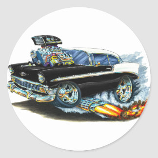 1956 Chevy 150-210 Black Car Classic Round Sticker
