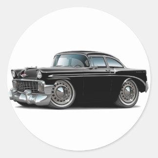 1956 Chevy Belair Black Car Classic Round Sticker