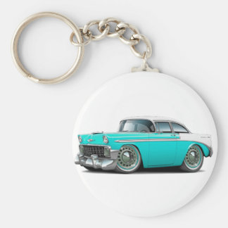 1956 Chevy Belair Turquoise-White Car Basic Round Button Keychain