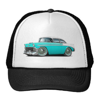 1956 Chevy Belair Turquoise-White Car Trucker Hat