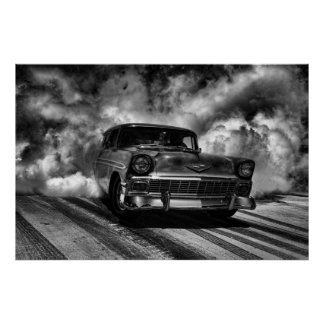 1956 chevy nomad burnout poster