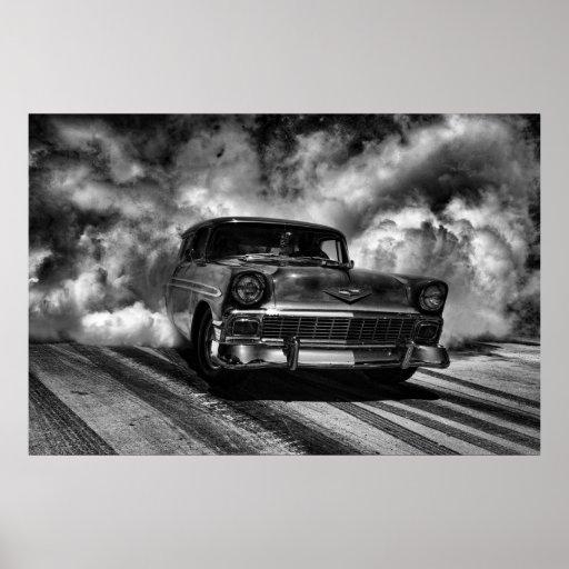 1956 chevy nomad burnout print