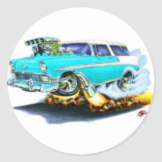 1956 Chevy Nomad Turquoise Car Classic Round Sticker