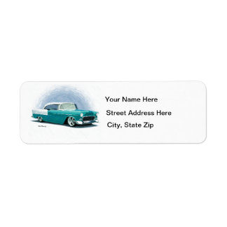 1956 Teal Chevy Coupe Address Labels