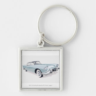 1957 Cadillac with silhouette of driver inside Keychain
